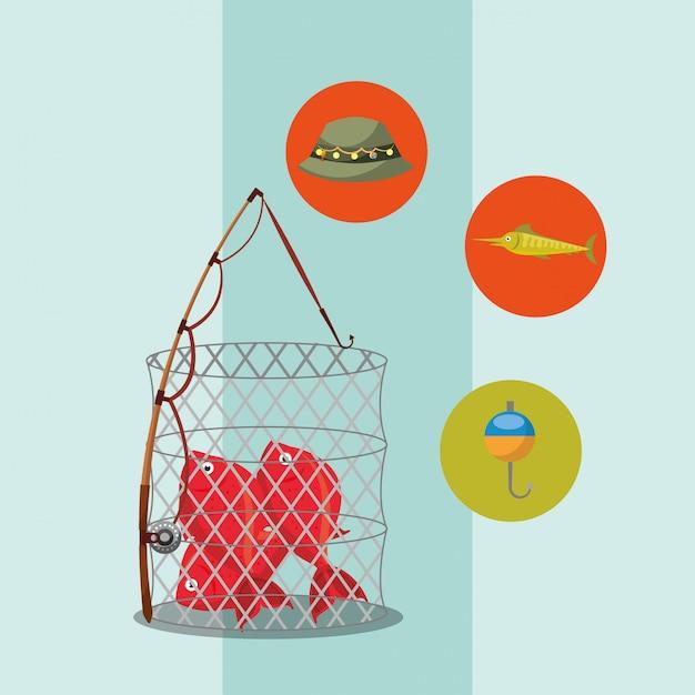 Мультфильм рыба Premium векторы