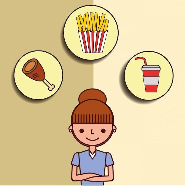 Девушка мультфильм и фаст фуд куриная сода картофель фри Premium векторы
