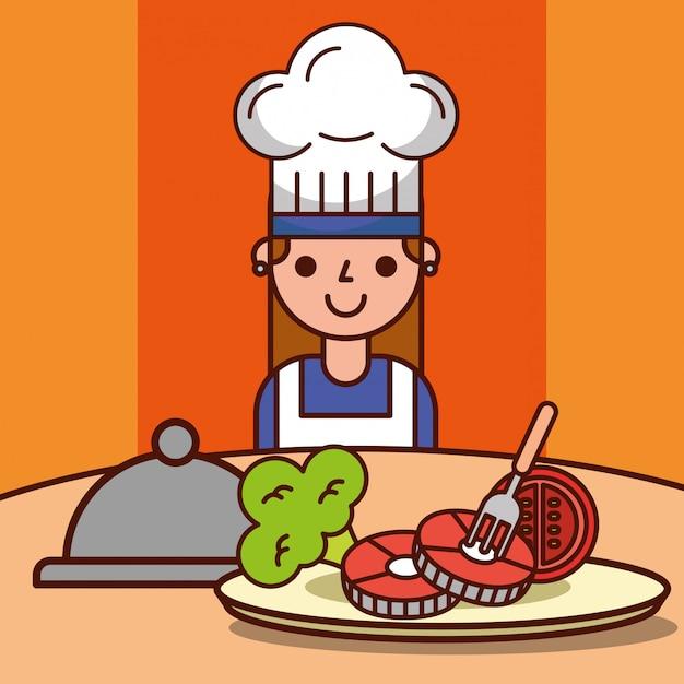 シェフ女の子漫画ディナー準備魚トマトブロッコリー Premiumベクター