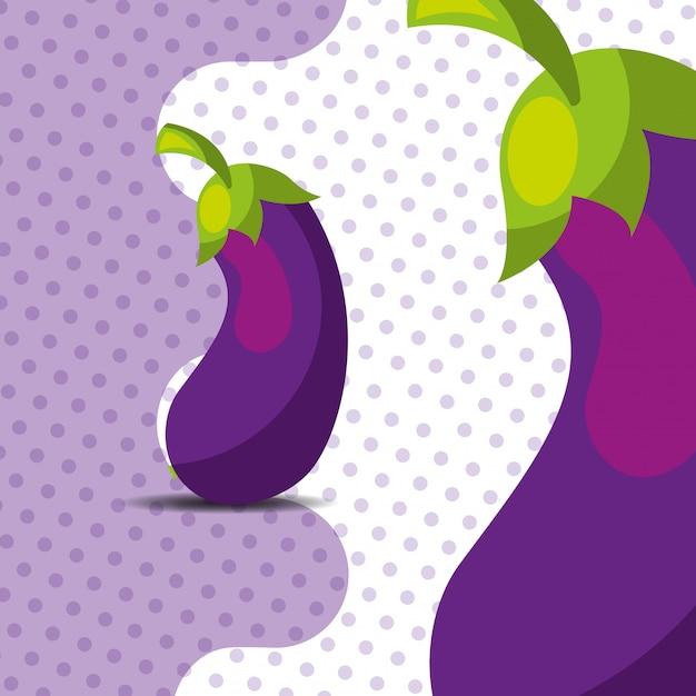 Баклажан из свежих овощей на фоне точек Premium векторы