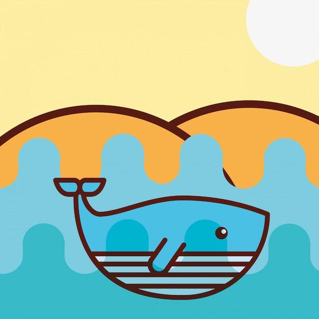 クジラの海の生活漫画 Premiumベクター