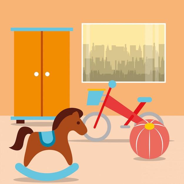 部屋のクローゼットとロッキングホースの自転車ボール Premiumベクター