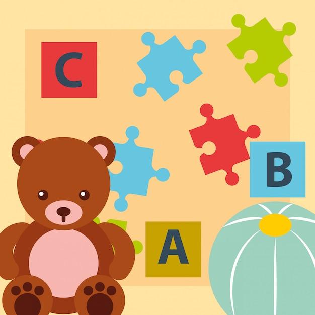 くまテディボールブロックアルファベットとパズルのおもちゃ Premiumベクター