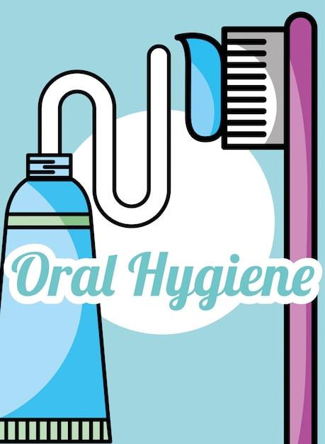 Зубная паста и щетка для гигиены полости рта Premium векторы