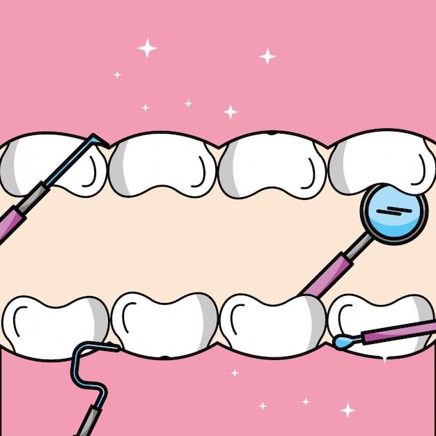 Зуб и десна внутри рта средства гигиены полости рта Premium векторы