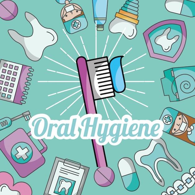 Паста для гигиены полости рта уход за зубами Premium векторы