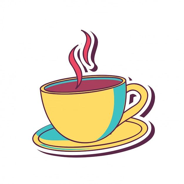 黄色のコーヒーカップ 無料ベクター