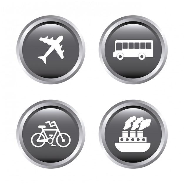 Символ путешествия над белым Бесплатные векторы