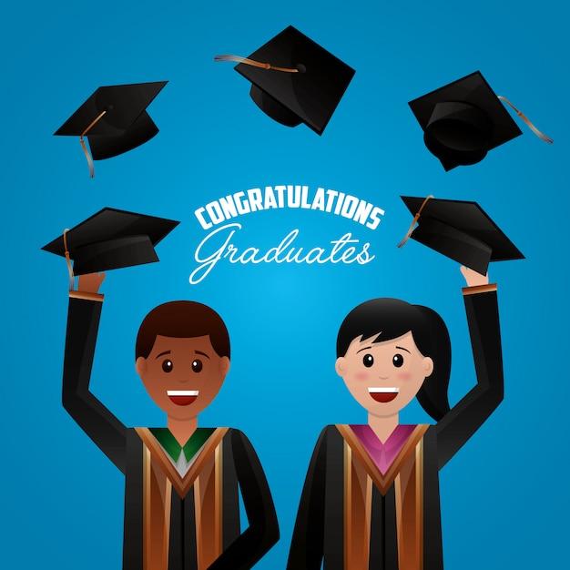 おめでとう卒業背景 無料ベクター