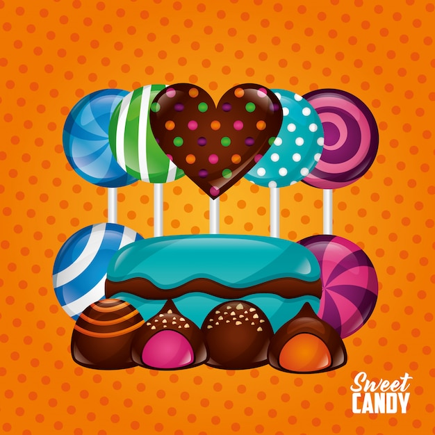 Сладкие конфеты фон Бесплатные векторы