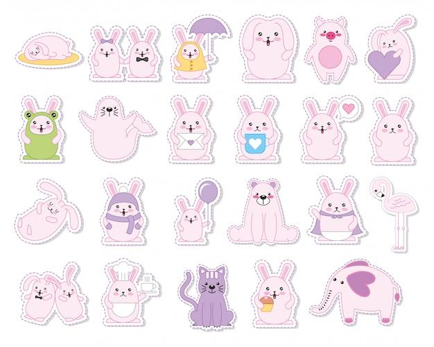 Набор символов кроликов и животных каваий Бесплатные векторы
