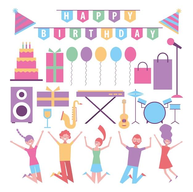 人々のお祝いや誕生日のアイテムのセット 無料ベクター