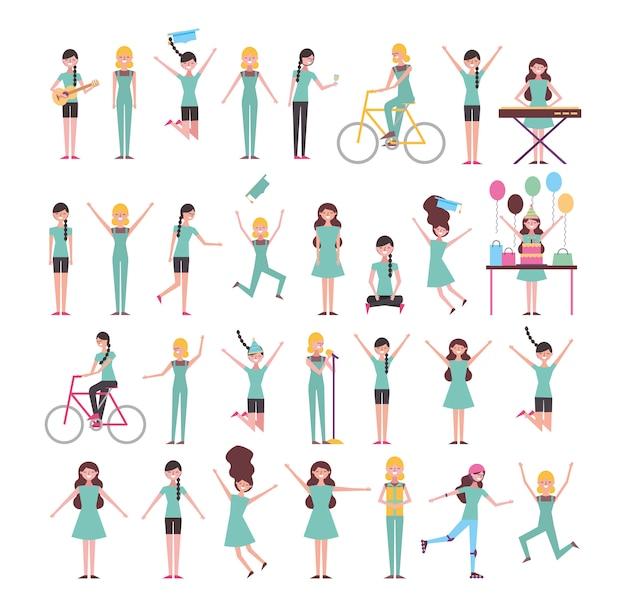 Набор девушек, занимающихся деятельностью Бесплатные векторы