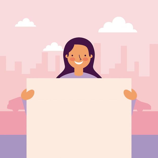 Женщина держит баннеры Бесплатные векторы