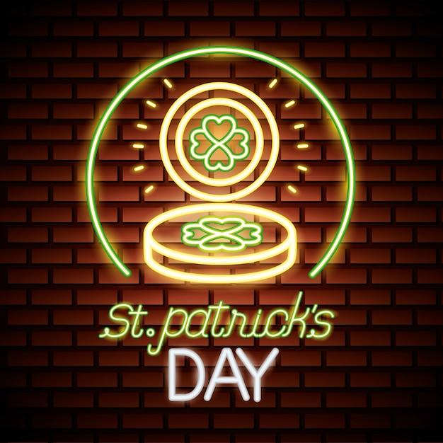 День святого патрика неоновый Бесплатные векторы