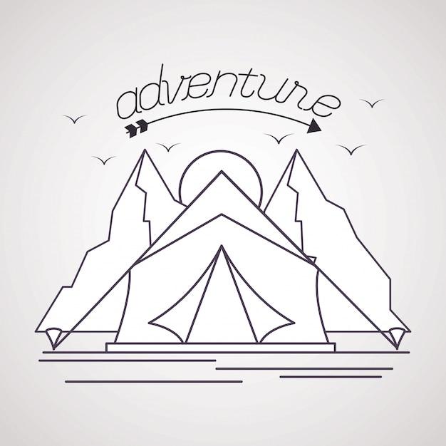 ワンダーラストは冒険の風景を探索する 無料ベクター