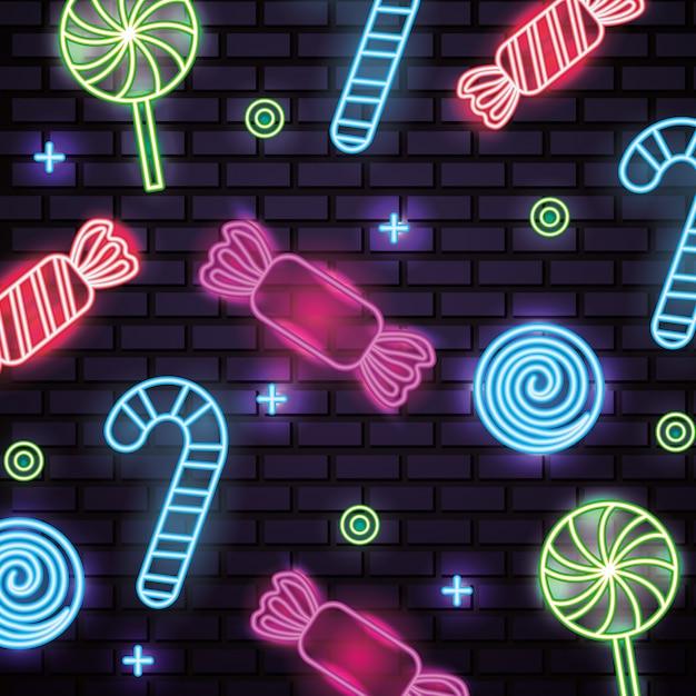 Сладкие конфеты неоновые бесшовные Бесплатные векторы
