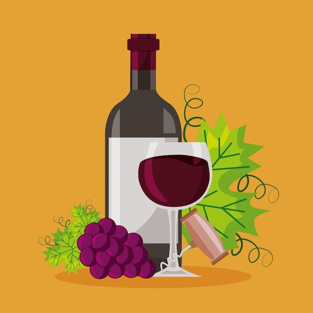 ワインボトルカップコルク栓抜き束新鮮なブドウ 無料ベクター