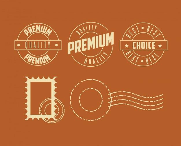 Набор марок премиум качества Бесплатные векторы