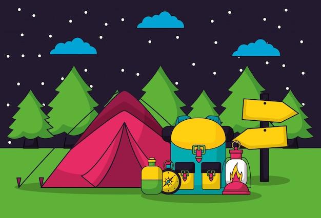 フラットスタイルのキャンプ旅行 無料ベクター