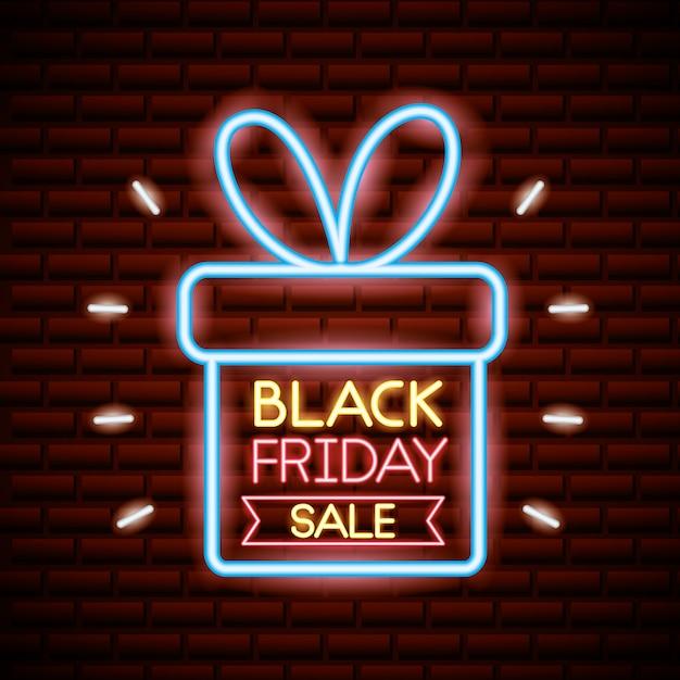 ネオンの明かりで黒い金曜日のショッピングセール 無料ベクター