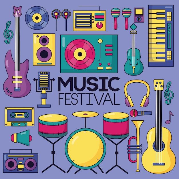 Музыкальный фестиваль фон Бесплатные векторы