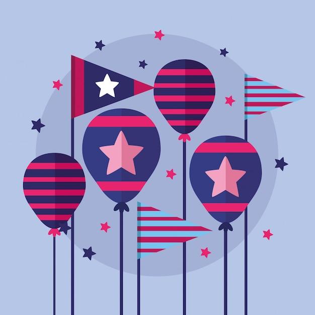 Американский счастливый день независимости Бесплатные векторы