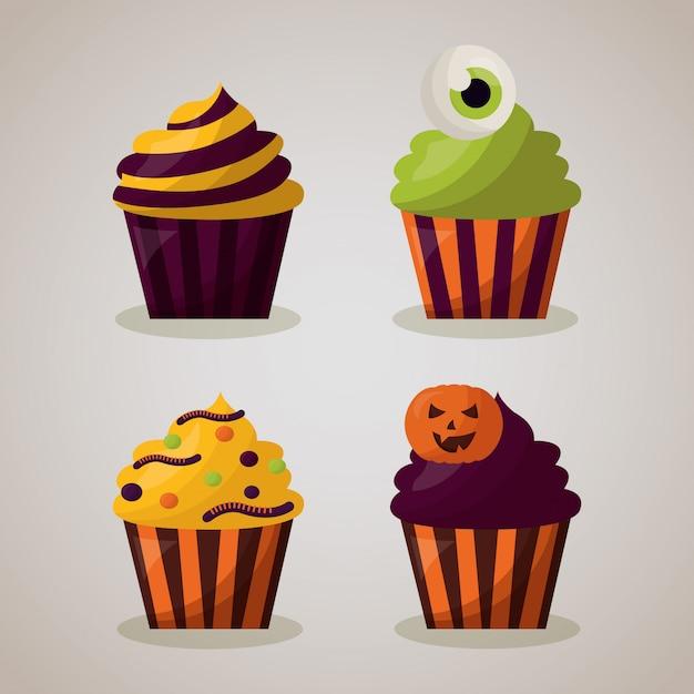 幸せなハロウィーンのお祝いの日のカップケーキセット 無料ベクター