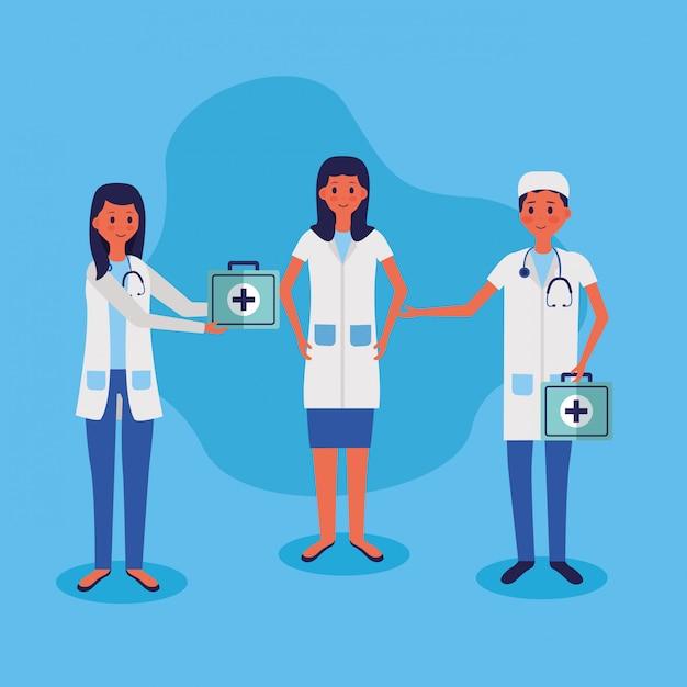 Медицинские люди сотрудники векторные иллюстрации Бесплатные векторы