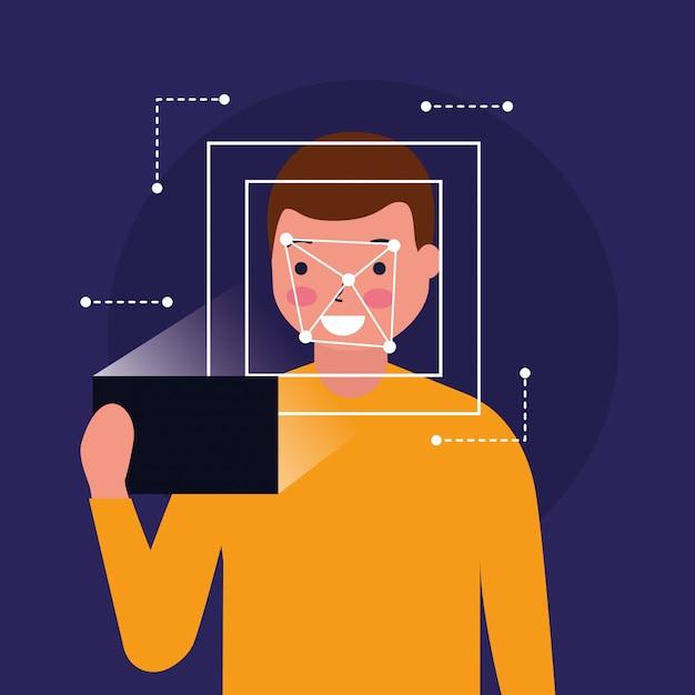 Биометрическая цифровая технология сканирования лица человека Бесплатные векторы