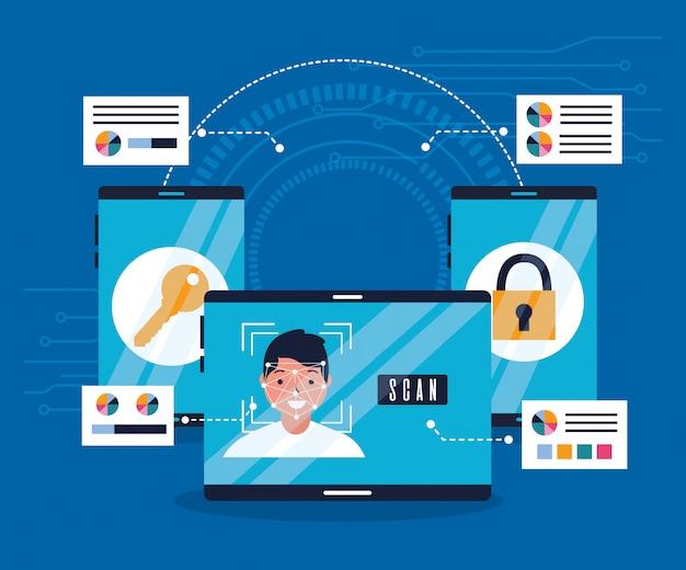 Технология биометрического ключа безопасности сканирования лица Бесплатные векторы