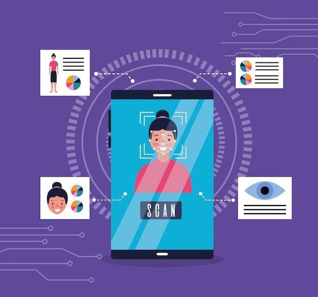 Смартфон распознавания лица женщины биометрический Бесплатные векторы