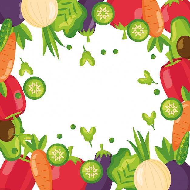 健康食品の新鮮なフレームの背景 無料ベクター