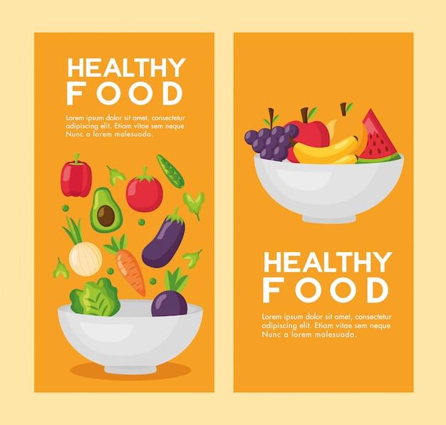 健康食品の新鮮なチラシセット 無料ベクター