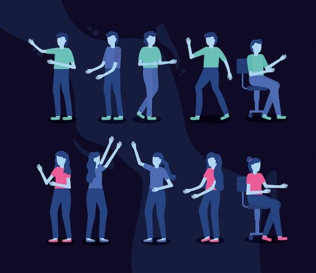 Группа людей жестом руки Бесплатные векторы