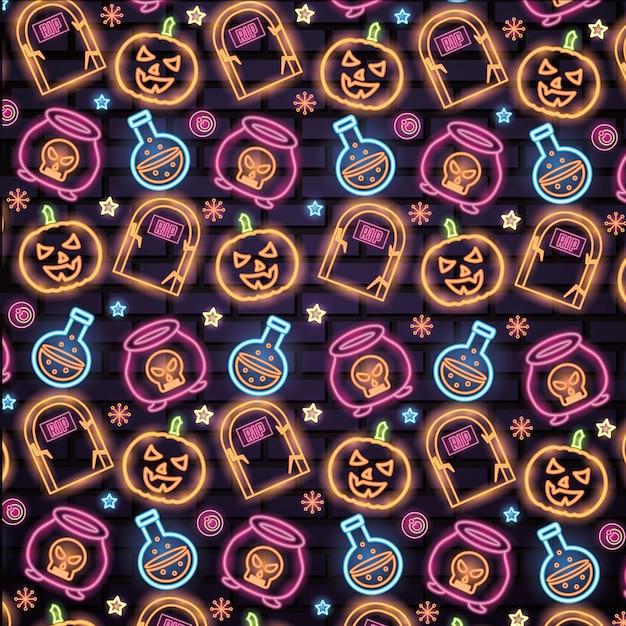 Хэллоуин неоновые вывески Бесплатные векторы