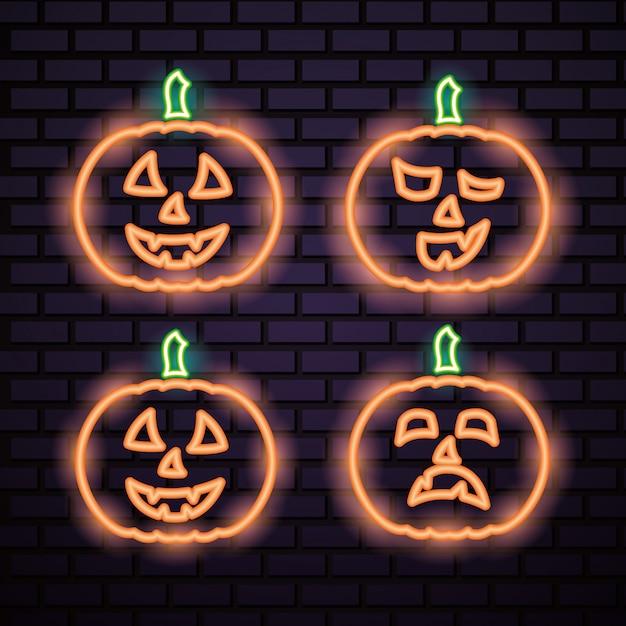 Хэллоуин тыква оранжевые неоновые вывески Бесплатные векторы