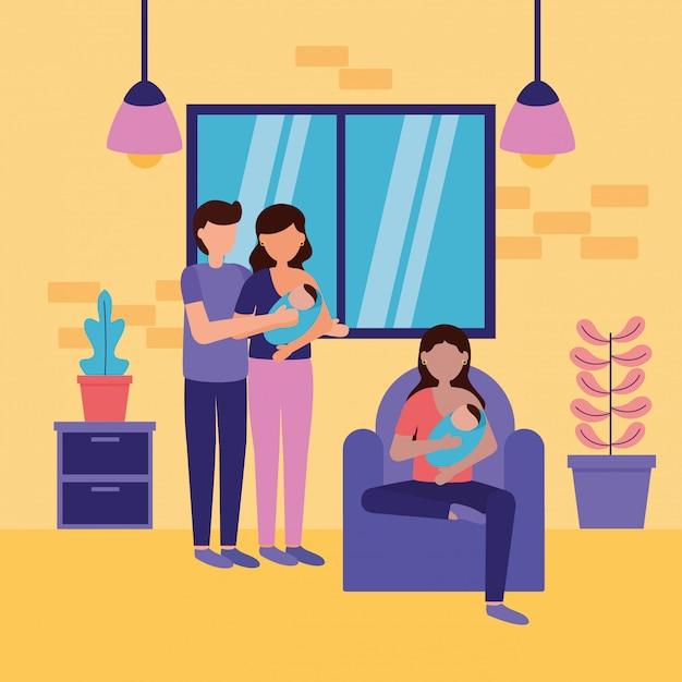 妊娠と出産のシーン 無料ベクター