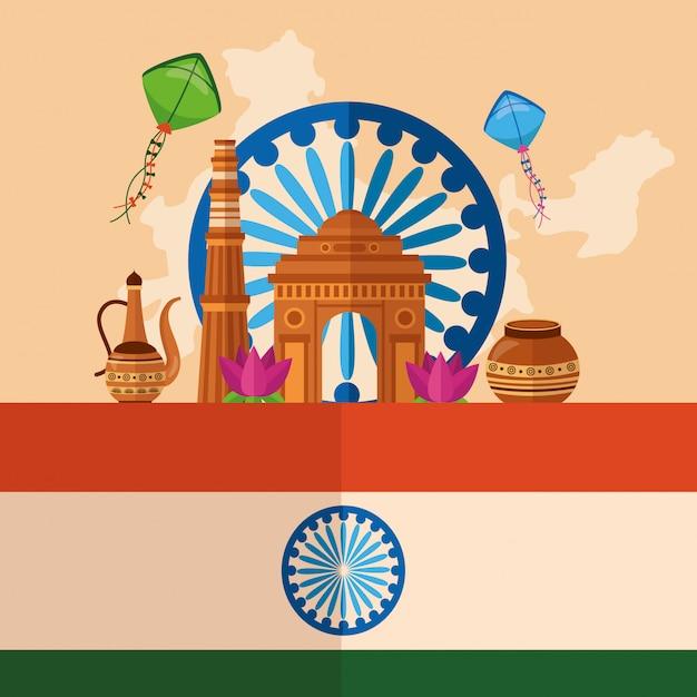 フラットスタイルのインドの幸せな独立記念日 無料ベクター