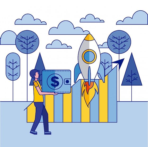 Финтех бизнес, связанный Бесплатные векторы