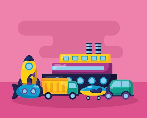 Детские игрушки иллюстрация Бесплатные векторы