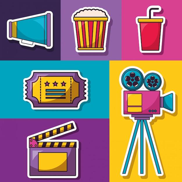 Кино фильм иллюстрация Бесплатные векторы