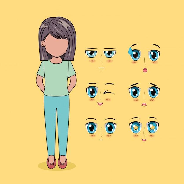 Лицо аниме людей Бесплатные векторы