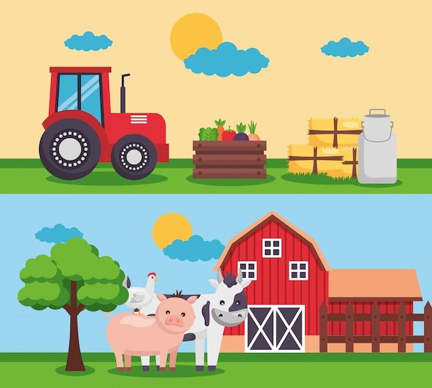 Ферма свежий мультфильм Бесплатные векторы