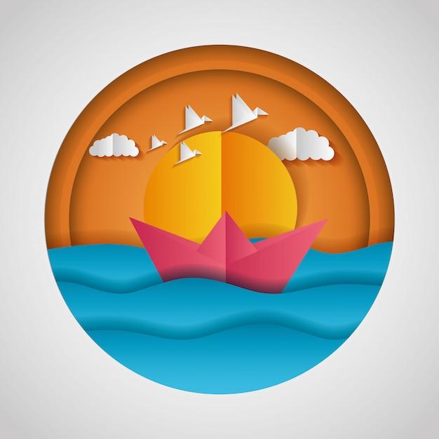 海と紙の船の紙折り紙の風景 無料ベクター
