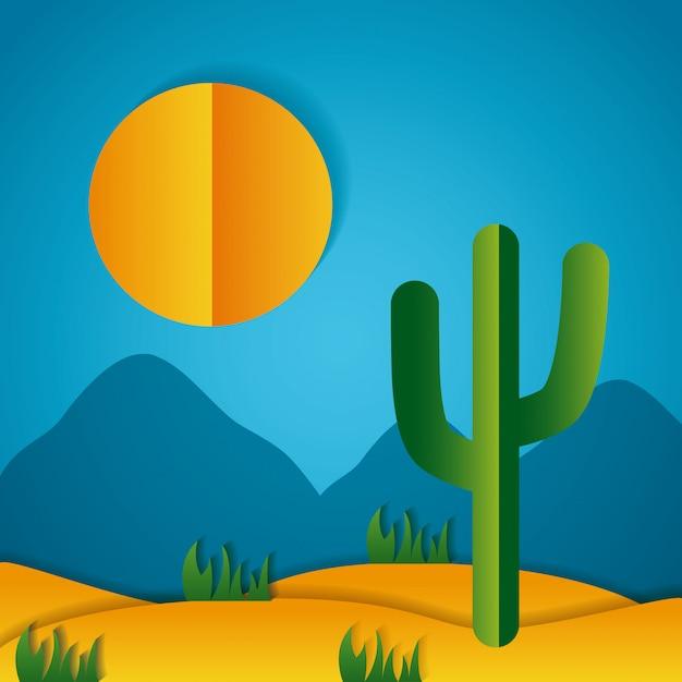 Бумага оригами пейзаж пустыни Бесплатные векторы