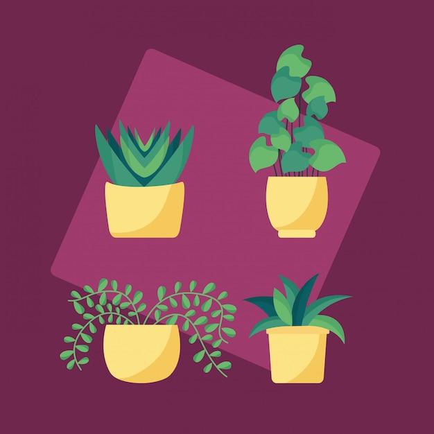 装飾的な植物のフラットな画像デザイン 無料ベクター