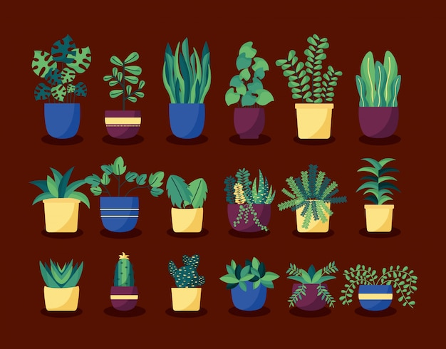 Набор декоративных комнатных растений для интерьера Бесплатные векторы