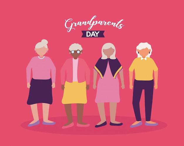 Счастливый бабушка и дедушка день плоский дизайн Бесплатные векторы
