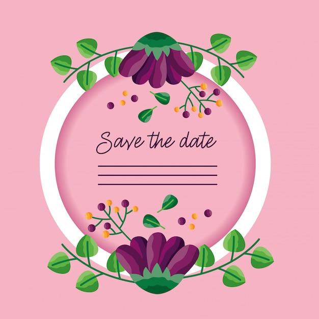 Свадьба сохранить рамку даты Бесплатные векторы